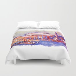 The Pantheon Rome Watercolor Streetscape Duvet Cover