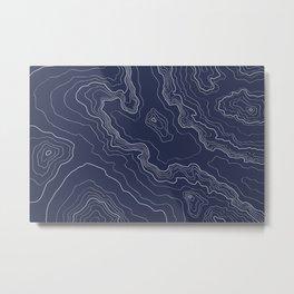 Navy topography map Metal Print