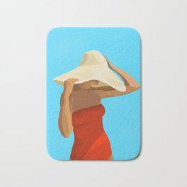At The Beach: Red Suit Bath Mat