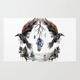 Black Ravens In The Crystal Woods Rug