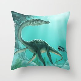 Underwater Dinosaur Throw Pillow