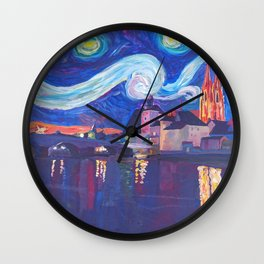 Starry Night in Regensburg  Van Gogh Inspirations on River Danube Wall Clock