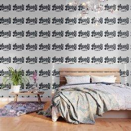 HAPPY CAMPER Black and White Retro Wallpaper