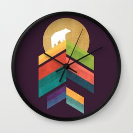 Lingering mountain with golden moon Wall Clock