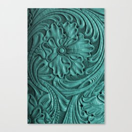Teal Flower Tooled Leather Canvas Print