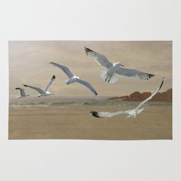 Seagulls Flying Along the Beachfront Rug