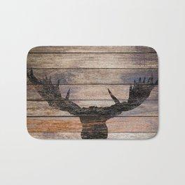 Rustic Black Moose Silhouette A424b Bath Mat