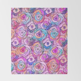 Watercolour & Rainbow Ink Flowers , Colorful Floral Painting Throw Blanket