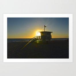 Lifeguard Tower Hermosa Beach California Sunset Art Print