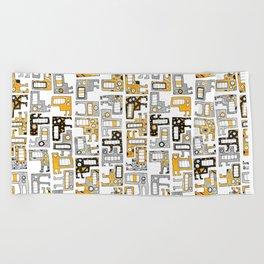 Tetris monsters yellow and grey Beach Towel