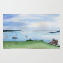 View from Fort McClary in Maine Watercolor Painting Rug