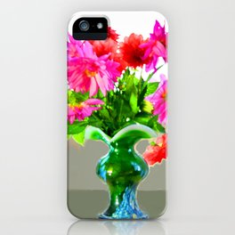 Green vase with bright colors iPhone Case