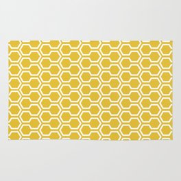Honey Comb Pattern Yellow Rug