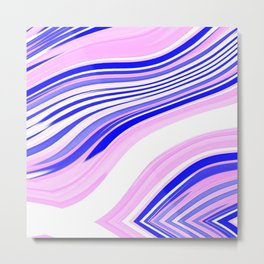 White and Shades of Pink and Blue Wavy Lines Metal Print