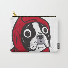 Red Hoodie Boston Terrier Carry-All Pouch
