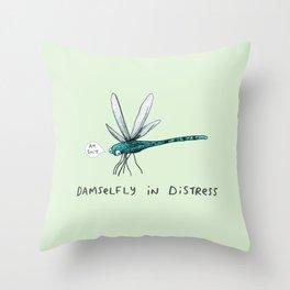 Damselfly in Distress Throw Pillow