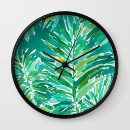 WILD JUNGLE Green Tropical Palm Wall Clock
