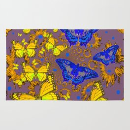 Decorative Blue & Yellow Butterfly Patterns Rug