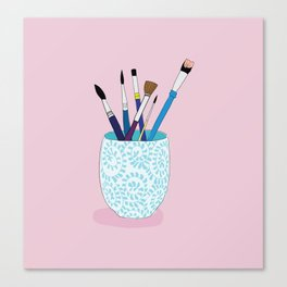 Paintbrushes in a Tea Cup Canvas Print