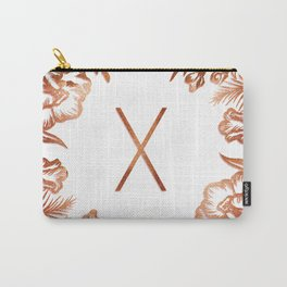Letter X - Faux Rose Gold Glitter Flowers Carry-All Pouch
