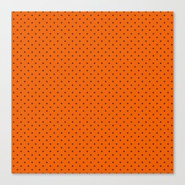 Bright Halloween Orange & Black Polka Dot Pattern Canvas Print