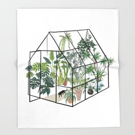 greenhouse with plants Throw Blanket