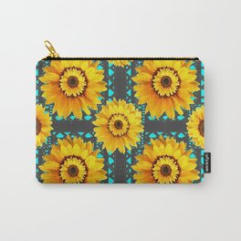 CHARCOAL GREY SOUTHWESTERN SUNFLOWERS ART Carry-All Pouch