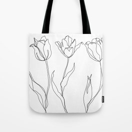 Botanical illustration line drawing - Three Tulips Tote Bag