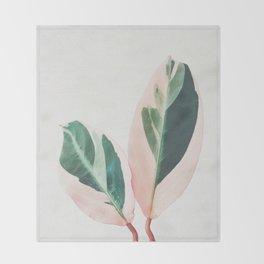 Pink Leaves I Throw Blanket