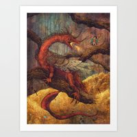 smaug Art Prints featuring Dragons Lair by Angela Rizza