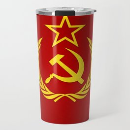 Hammer and Sickle Textured Flag Travel Mug