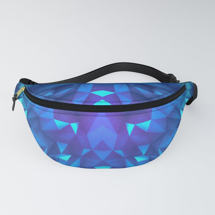 Deep Blue Collosal Low Poly Triangle Pattern -  Modern Abstract Cubism  Design Fanny Pack