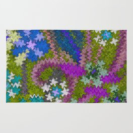 Starry Floral Felted Wool, Moss Green and Violet Rug