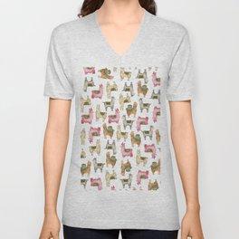 Llama love / Alpaca adventure wanderlust travel / animal baby nursery gift for her shower decor Unisex V-Neck