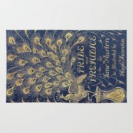 Pride and Prejudice by Jane Austen Vintage Peacock Book Cover Rug