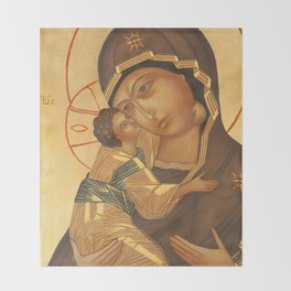 Orthodox Icon of Virgin Mary and Baby Jesus Throw Blanket