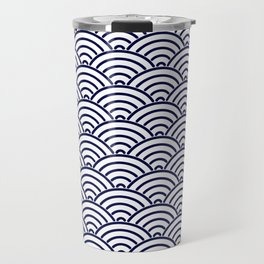 Japanese Koinobori fish scale Delft Blue Travel Mug