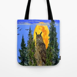 OWL WITH FULL MOON & TREES NATURE BLUE DESIGN Tote Bag
