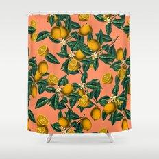 Lemon and Leaf Shower Curtain