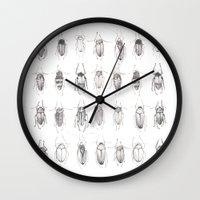 bugs Wall Clocks featuring Bugs by Emma Kelly