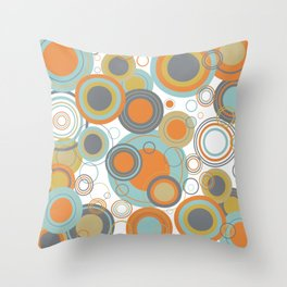 Retro Mid Century Modern Circles Geometric Bubbles Pattern Throw Pillow