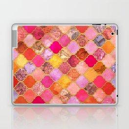 Hot Pink, Gold, Tangerine & Taupe Decorative Moroccan Tile Pattern Laptop & iPad Skin