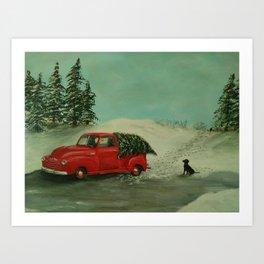 Vintage Truck and Christmas Tree Art Print