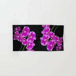 Graceful spray of deep pink orchids Hand & Bath Towel