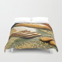 bread Duvet Covers featuring Baking Bread by BravuraMedia