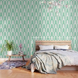 Art Deco Jagged Edge Pattern Mint Green Wallpaper