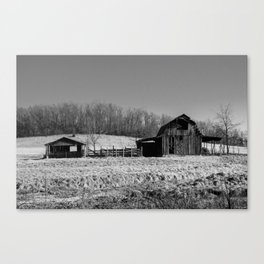 Days Gone By - Old Arkansas Barn in Black and White Canvas Print