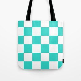 Large Checkered - White and Turquoise Tote Bag