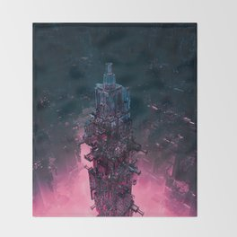 The Technocore / 3D render of futuristic structure Throw Blanket