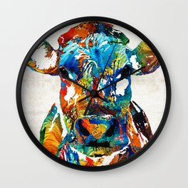 Colorful Cow Art - Mootown - By Sharon Cummings Wall Clock
